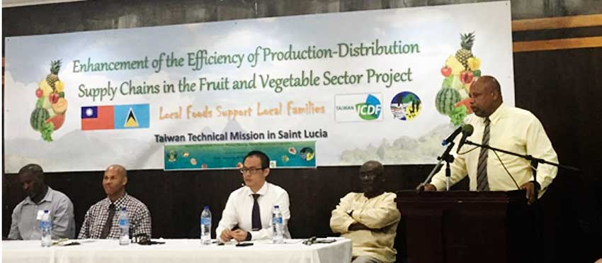 Image:P Agriculture Minister, Ezechiel Joseph speaking at the training workshop.
