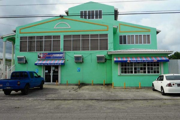 Image of Family Food Mart in Vieux Fort was robbed by armed bandits this week.