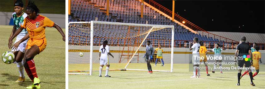 Image: Grenada on the attack against Dominica; The Dominica defence is stunned after Grenada take a 1 - 0 lead (PHOTO: Anthony De Beauville)