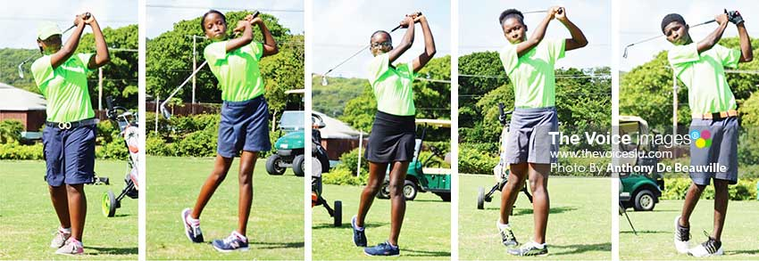 Image: (L-R) Hitting out towards the 200 yards are Junior golfers Hope Auguste, Celina Lubin, Britany Mangal, Lisa Daniel and Kimani Thomas.(PHOTO: Anthony De Beauville)