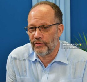 Image of CARICOM Secretary-General, Ambassador Irwin LaRocque, at the press briefing at Hewanorra House on Tuesday. [PHOTO: Allen Alexander]