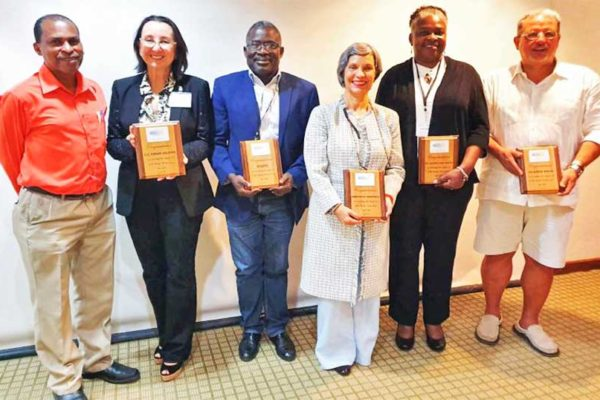 Image: CCI Envoy Karolin Troubetzkoy (second from left ) with (from left) CCI Secretariat Coordinator John Calixte; Joseph Emmanuel Philippe, Chief of Staff in Haiti's Ministry of Environment; Josefina Gomez of Fondo MARENA in the Dominican Republic; June Hughes, Director of the St Kitts and Nevis Department of Environment; and Ernesto Diaz, Director of the Puerto Rico Coastal Zone Management Program.