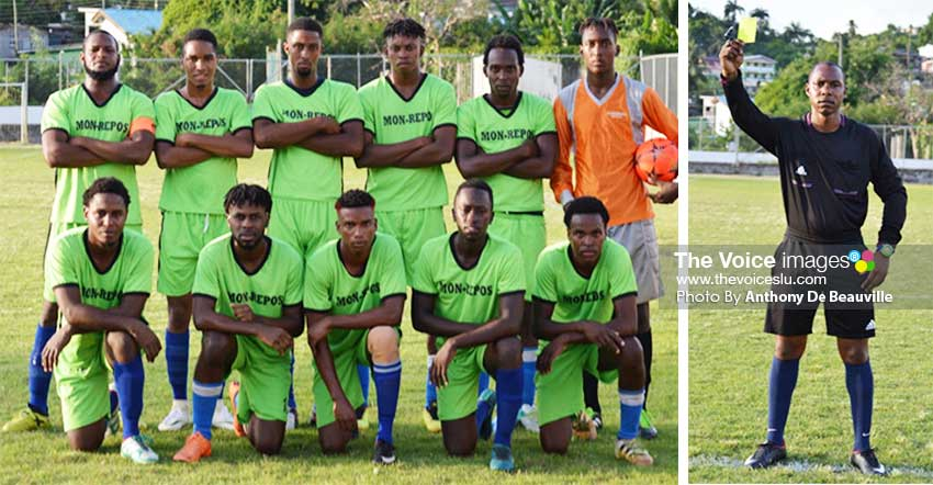 Image: (l-r) Mon Repos took on Gros Islet at the La Resource Playing Field; Referee Kevin Antoine will be in the thick of things during the Island Cup. (PHOTO: Anthony De Beauville)