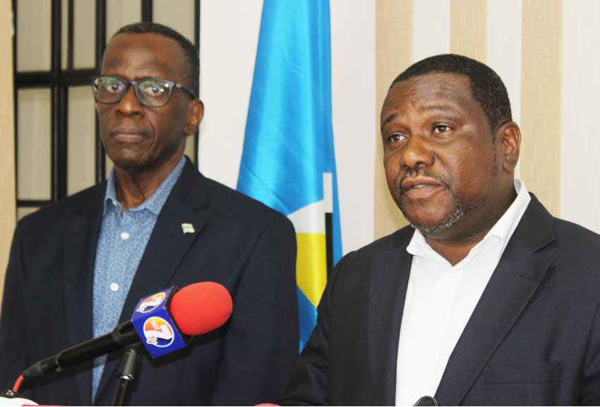 Image of Political leader Philip J Pierre and his 1st Deputy leader Alva Baptiste at Wednesday's press conference.