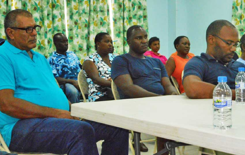 Image of Pig farmers at an intervention meeting held at the Vieux Fort Fisheries Complex last week. [PHOTO: Kingsley Emmanuel]