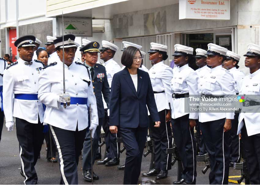 Image of President Tsai Ing-Wen inspecting the Guard of Honour Thursday in Castries.