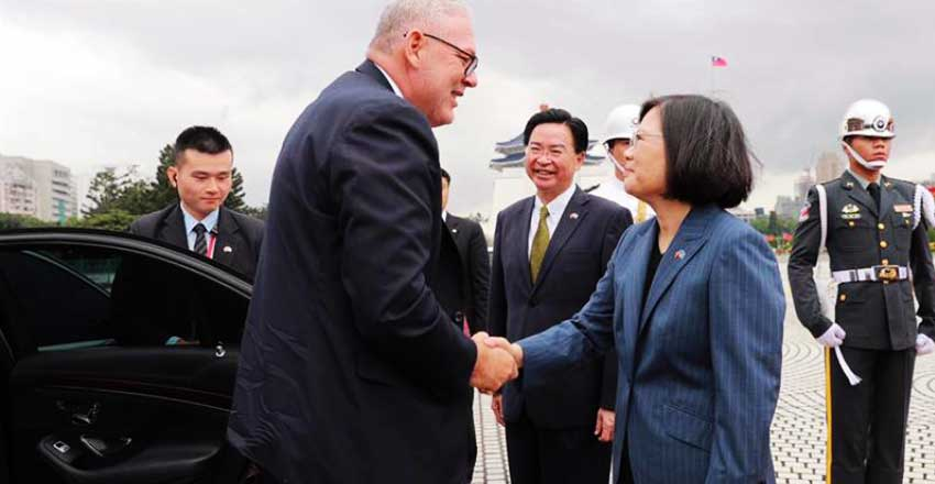 Image of President Tsai Ing-wen with Prime Minister Allen Chastanet during the Prime Minister's official visit to Taiwan in October, 2018.