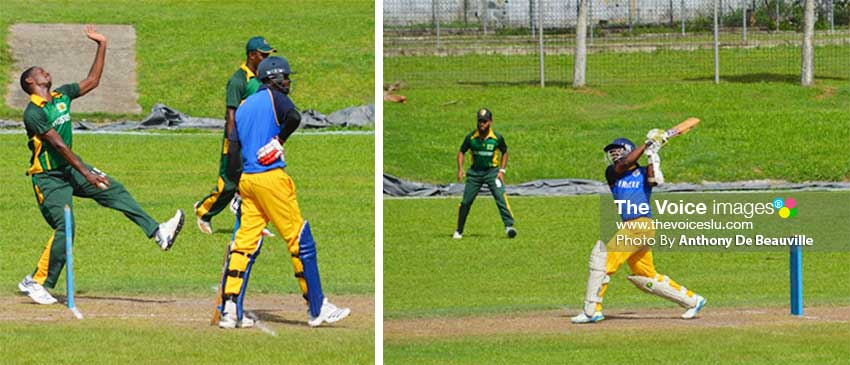 Image: (L-R) Some of the action in the final between South Castries (bowling) and Soufriere (batting) on Sunday at the MPP. (PHOTO: Anthony De Beauville)