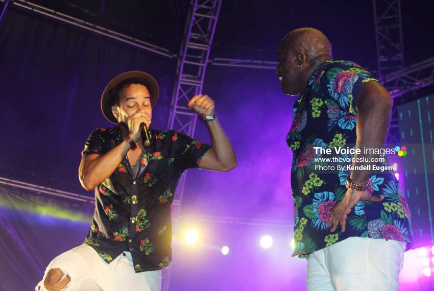 Image: Teddyson with Soca heavy-hitter, Kes. [PHOTO BY Kendell Eugene]