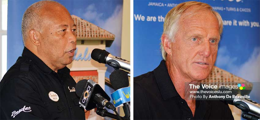 Image: (L-R) Sandals Saint Lucia Managing Director – Winston Anderson; legendary golfer – Greg Norman speaking during Wednesday morning press conference at the Sandals Golf and Country Club. (PHOTO: Anthony De Beauville)
