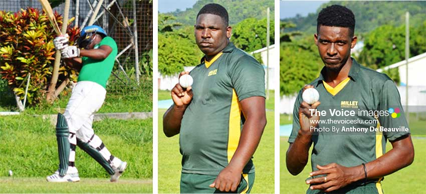 Image: (L-R) A South Castries U19  lower order batsman hits out in the final over; Xavier Gabriel and Bradley  Giddings picked up 3 for 7 and 3 for 8 for Millet versus South Castries U19s. (PHOTO: Anthony De Beauville)