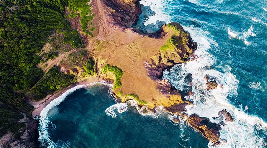 Image of an aerial view of the northern tip of the Cabot development, which has already broken ground in Saint Lucia. [PHOTO: Caribbean Journal]