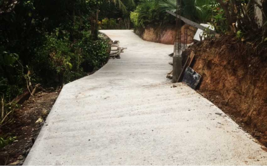 Image: A concrete road cutting through a section of the land Exquisite Homes Limited shareholders say was unplanned and built by persons unknown to them.
