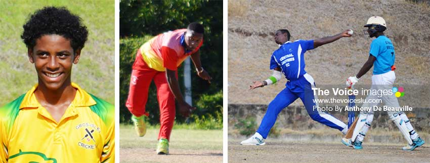 Image: (L-R) Ackeem Auguste (top order batsman), Tonius Simon (all-rounder) and Dillan John (fast bowler).  (PHOTO: Anthony De Beauville)