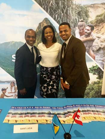 Image: Tourism Minister Dominic Fedee; Saint Lucia's Consulate General in Canada, Cheryl Francis and PR representative for the SLTA, Andrew Ricketts.