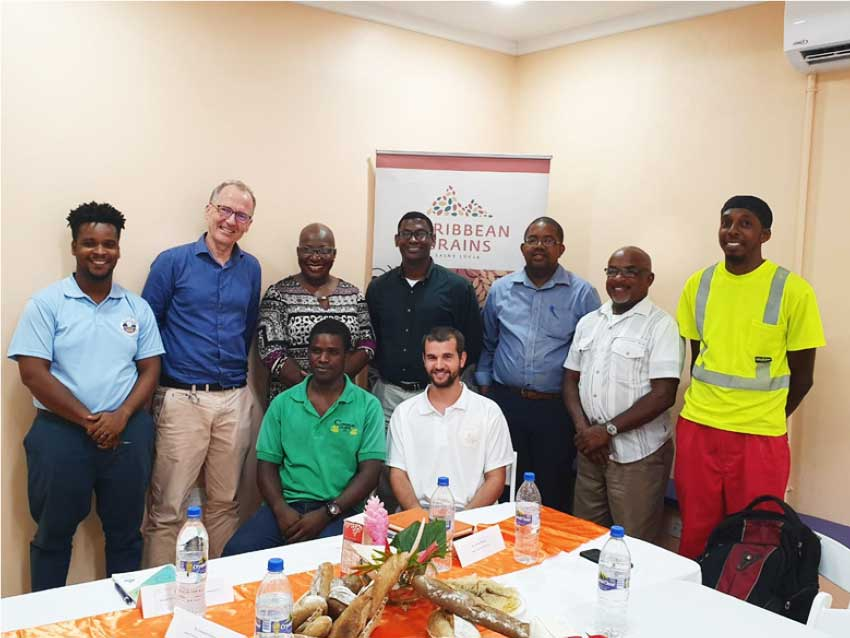Image: Minister of Education, Innovation, Gender Relations and Sustainable Development Dr Gale Rigobert (back row, third from left) with members of the Bakers Association of Saint Lucia at the Caribbean Grains Flour Mill in Vieux Fort.