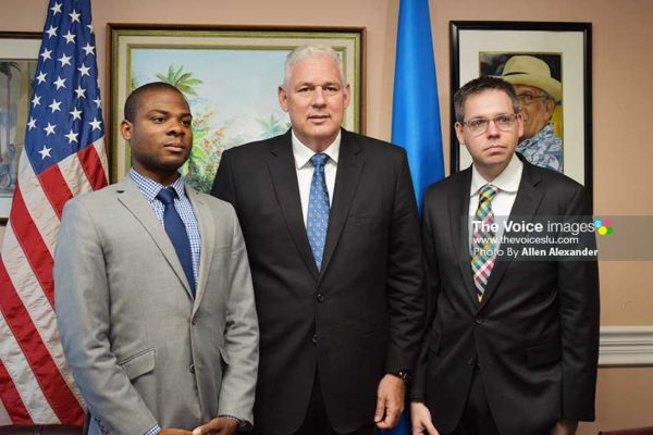 Image: From left: House Foreign Affairs Staff Associate Evan Bursey, Prime Minister Allen Chastanet, and Senior Policy Advisor to the House Foreign Affairs Committee Eric Jacobstein. [PHOTO: Allen Alexander]