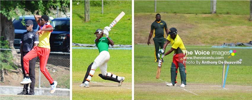 Image: (L-R) Fast bowler Jerimiah Charles about to bowl a delivery; SCCA Under 19 player going for the maximum; One of Zackary Edmund's two wickets against Crusaders.(PHOTO: Anthony De Beauville)