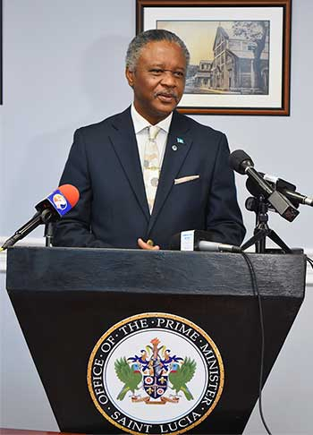 Image of Hermangild Francis, Minister for Home affairs, Justice and National Security at this week's pre-Cabinet meeting.