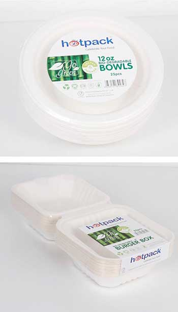Image: Hotpack products are 100 percent biodegradable and are made of sugar cane bagasse and cornstarch.