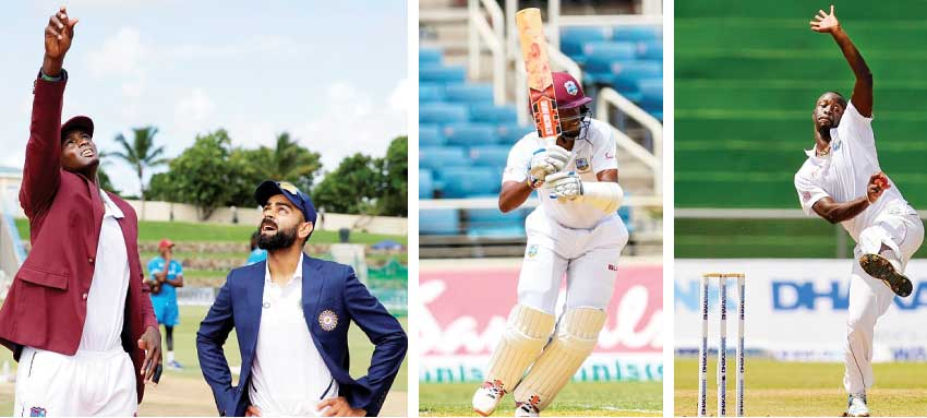 Image: (L-R) Will Jason Holder call it right again against ViratKohli tomorrow at Sabina Park?; Opening batsman Kraigg Brathwaite and fast bowler Kemar Roach –  a lot depends on them for a West Indies win. (Associated Press, AFP/WICB)