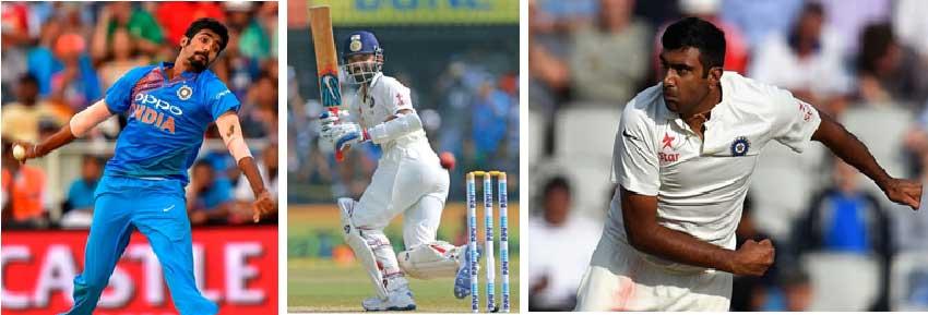 Image: (L-R) Jasprit Bumrah, Ajinkya Rahane and Ravichandran Ashwin. (Photo: Getty Images/ BCCI)
