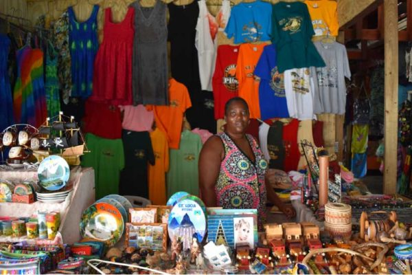 Image: Melane Cerry at her vending tray at the Castries Vendors' Arcade.