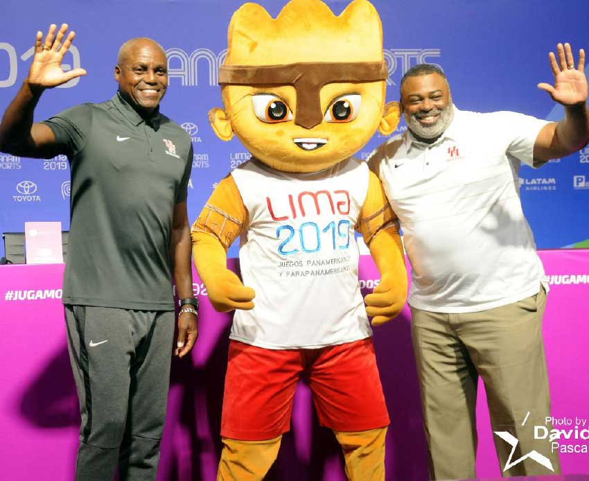 Image: Olympic legend Carl Lewis (left) with former 100 metre record holder Leroy Burrell and the Games mascot.