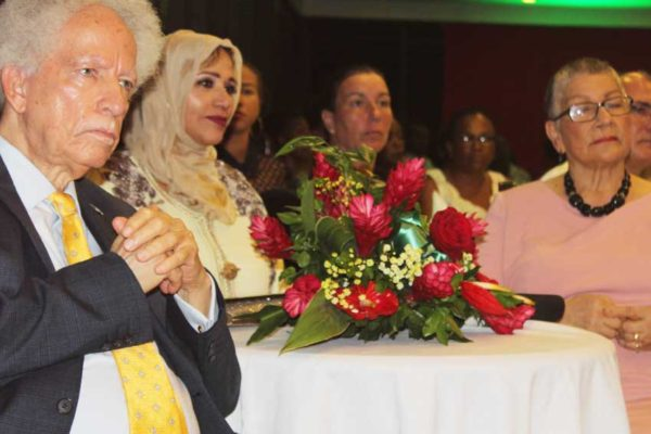 Image: His Excellency Governor General Sir Neville Cenac (left) and wife (far right) and other guests at Tuesday's celebrations.