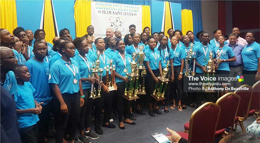 Image: Team Saint Lucia with Prime Minister Allen Chastanet and other government officials. (Photo: Anthony De Beauville)