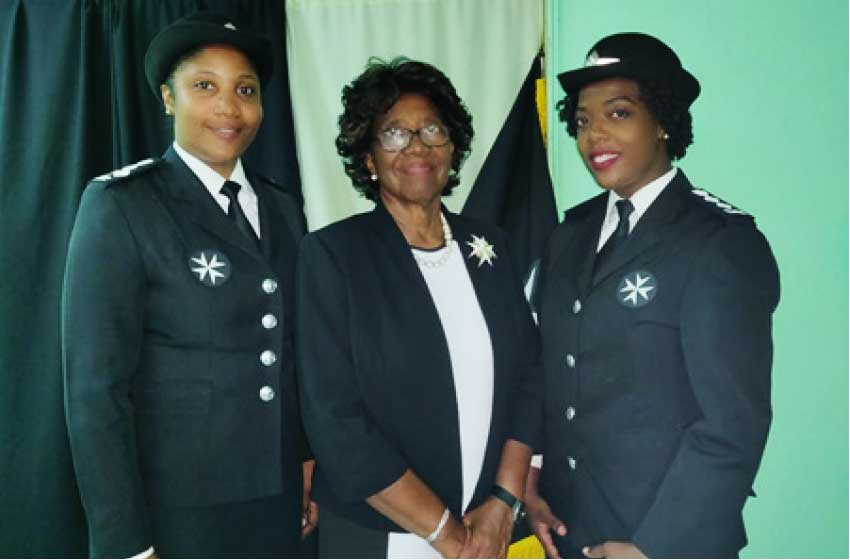 Image — L-R: Commissioner Berthia Nickson, President Her Excellency Dame Pearlette Louisy, Deputy Commissioner Vernelle Alphonse-Cerry. (Photo: St John Association of Saint Lucia 2019)