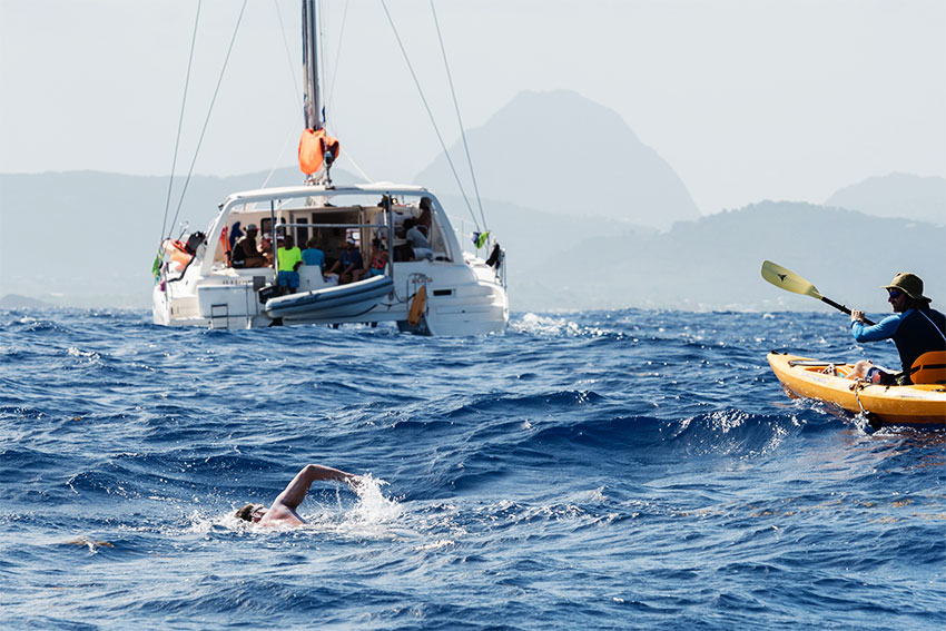 Image: Cameron Bellamy's historic swim from Barbados to Saint Lucia
