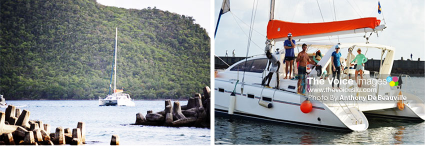 Image: (L-R) Cameron Bellamy's support boat. (Photo: Anthony De Beauville)