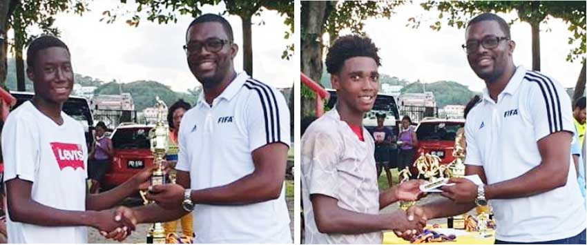 Image: SLFA Vice President Charde Desir presenting top awards to outstanding players. (Photo: MP)