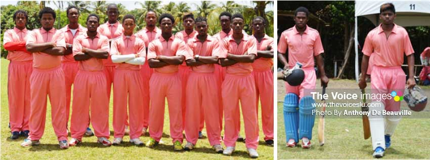 Image: Chaz Cepal a member of the Cocoa Cricket Team standing fifth in back row; Cepal going out to bat with Stephen Naitrum. (Photo: Anthony De Beauville)