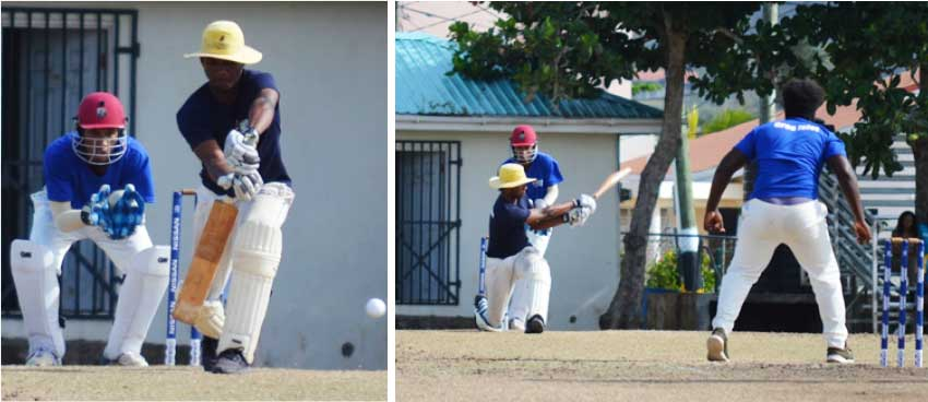 Image: (L-R) Chaz Cepal in defensive and attacking mode against Rene Montoute in the   Sandals Cup semifinals playing for Central Castries versus Gros Islet, Chaz top scored with 44 runs. (Photo: Anthony De Beauville)