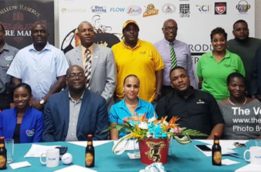 A photo moment for Sports Minister – Edmund Estaphane, SLFA President – Lyndon Cooper, CEO Blackheart – David Christopher and the Blackheart Crew along with the 2019 Sponsors. (Photo: Anthony De Beauville)