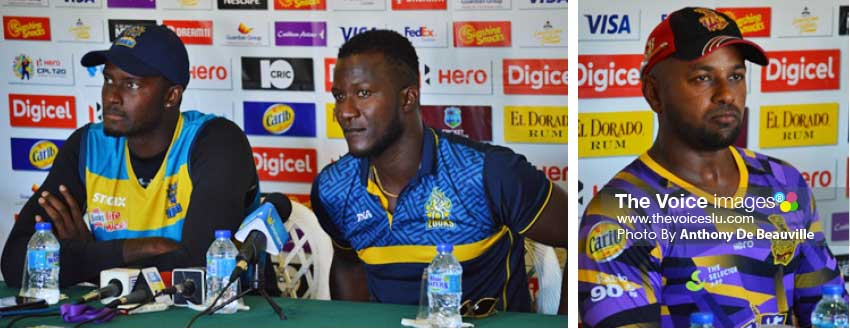 Image: (L-R) Jason Holder (Barbados Tridents), Daren Sammy (Saint Lucia Zouks) and Imran Jan (Trinbago Knight Riders) at Thursday's press conference. (Photo: Anthony De Beauville)