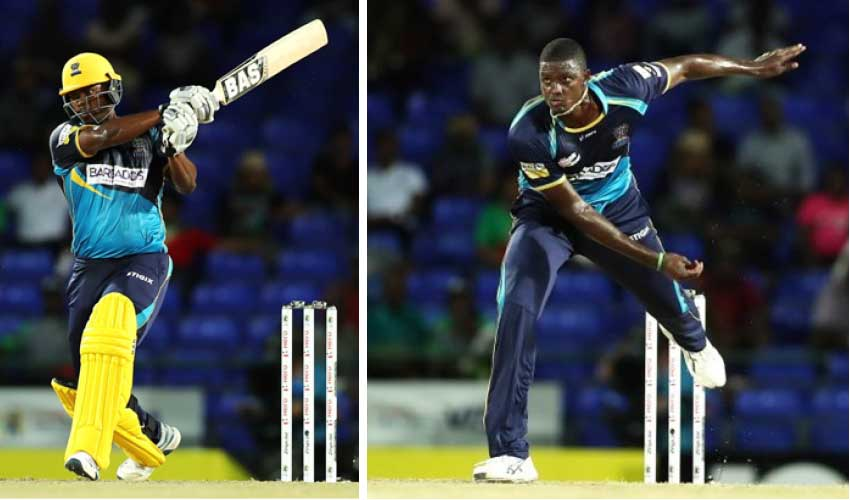 Image: (L-R) Johnson Charles and Jason Holder. (Photo: CPL T20 Ltd 2019)