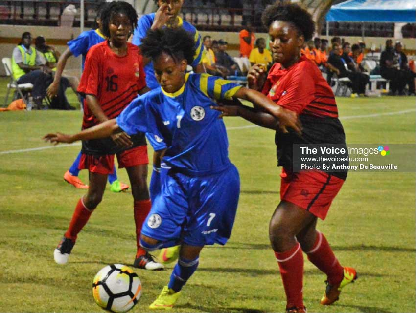 Image: Flash Back! Saint Lucia's Krysan St Louis (No.7) in action during Saint Lucia's Under -17 match against Antigua and Barbuda at the DSCG. (Photo: Anthony De Beauville)