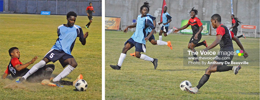 Image: (L-R)Some of the action between Mabouya Valley and South Castries on Sunday. (Photo: Anthony De Beauville)