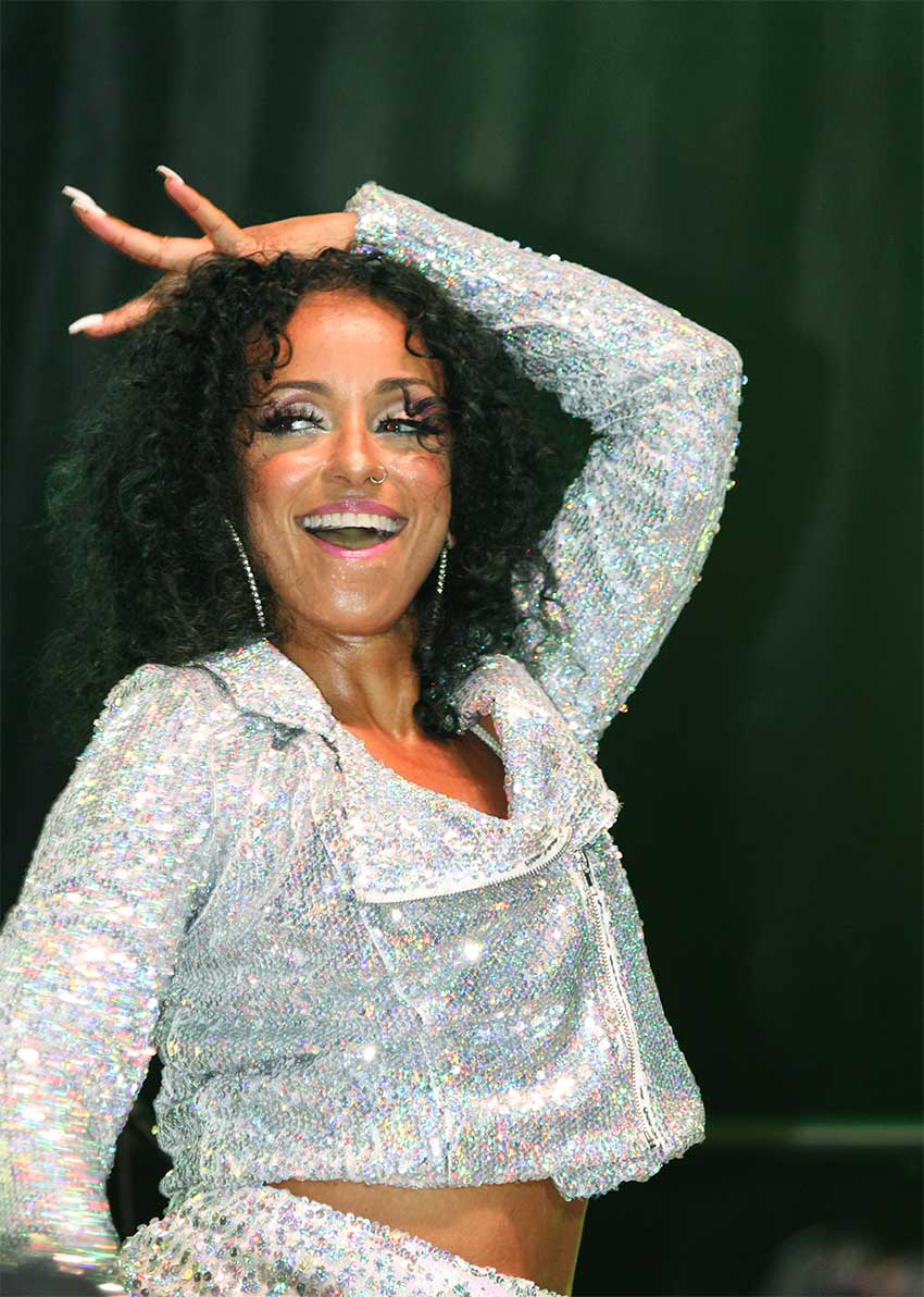 Image: Mya was in top form at Sunday's event.
