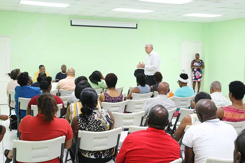 Image of Prime Minister Allen Chastanet speaking with members of the Southern Business Association earlier this week.