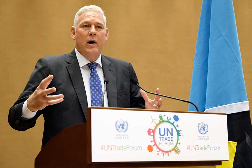 Image of PM Chastanet addressing the UN Trade Forum.
