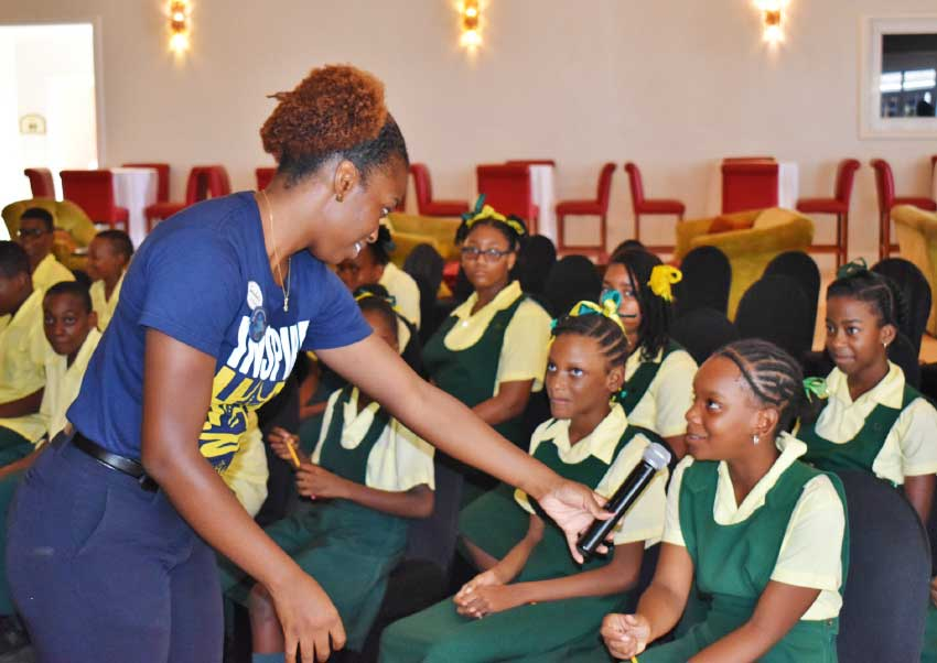 Image: Rodesha Reid, Environmental Health and Safety Manager of Sandals in Saint Lucia during the exercise with students.