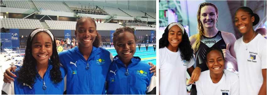 Image: (L-R) Saint Lucian swimmers at the FINA World Junior Championships: Naima Hazell, Naekeisha Louis and Mikaili Charlemangne; Saint Lucian  swimmers with Hungarian swimming sensation, Olympic Gold Medallist and World Champion, Katinka Houssu. (Photo: SLAF)