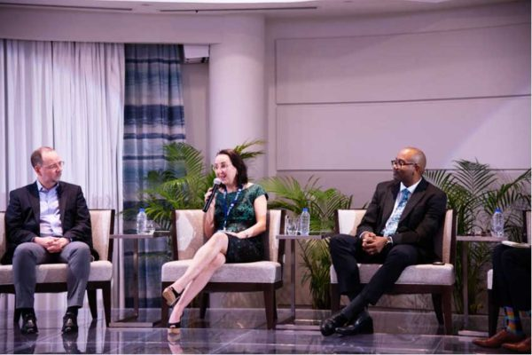 Image: From left: Sillite Reis, Director of Airport, Passenger, Cargo and Security for IATA; Karoline Troubetzkoy, Executive Director for Marketing and Operations for AnseChastanet and Jade Mountain Resorts, and Daren Cenac, General Manager of SLASPA.