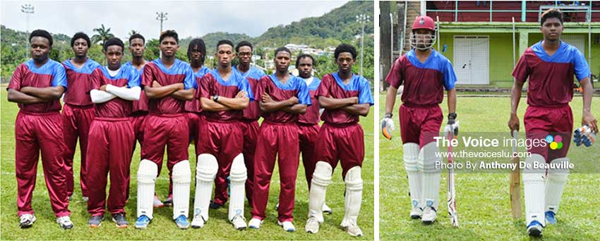 Image: Sir Arthur Lewis Community College Under 19; Chaz Cepal going to bat with Dominic Auguste.  (Photo: Anthony De Beauville)