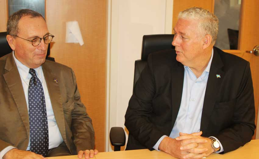 iMAGE: Stefano Manservisi, the European Union Commission's Director General for International Cooperation and Development meeting with Prime Minister Allen Chastanet after this weekend's walk through of the Owen King European Union (OKEU) Hospital.