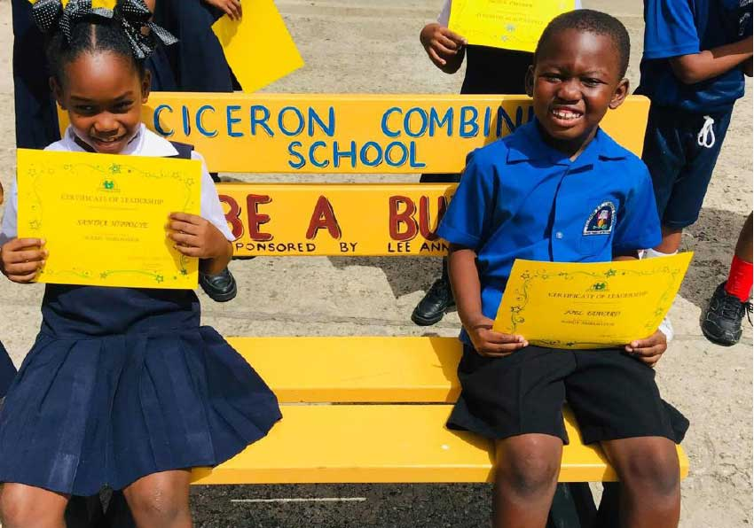 Image of students utilising the Buddy Bench at Ciceron Combined School.